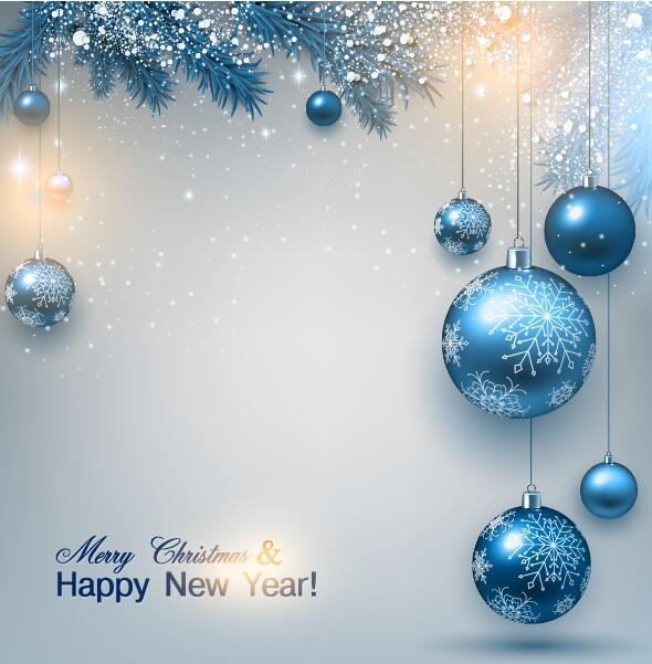 Blue christmas ball with snow and new year card vector free download