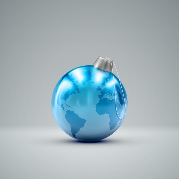 Blue christmas ball with world map vector