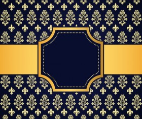 Blue decoration pattern background with golden frame vector