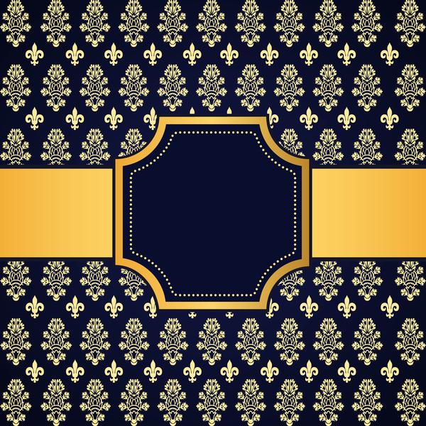 Blue decoration pattern background with golden frame vector