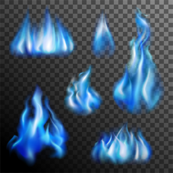 Blue flame illustration vector material 01