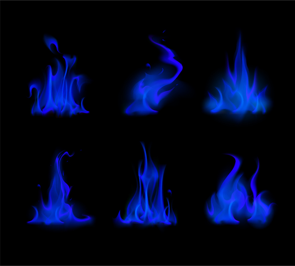 Blue flame illustration vector material 02