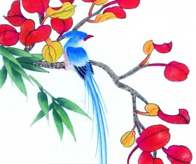 Blue long-tailed bird on the branches of safflower Stock Photo