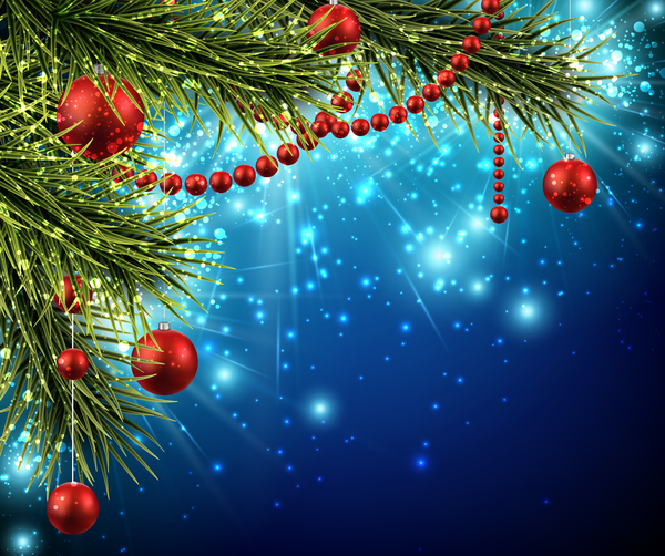 blue new year background with christmas decor vectors