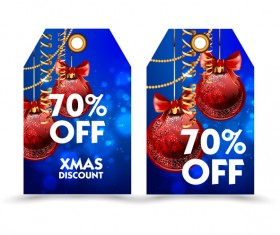 Blue styles christmas discount tags vector