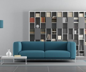 Bookcase with sofa interior design HD picture