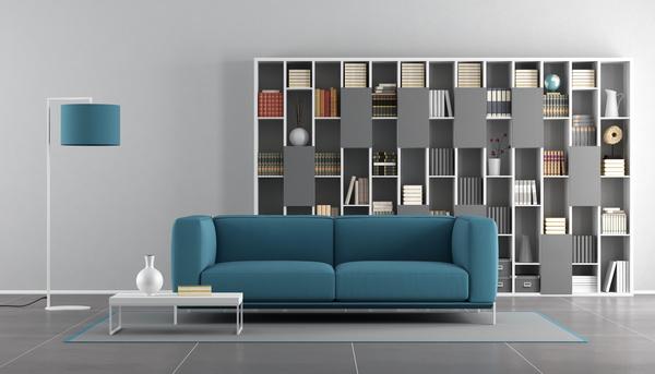 Bookcase with sofa interior design HD picture free download