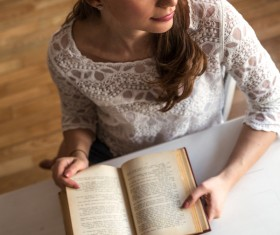 Books with women Stock Photo
