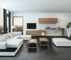 Bright living room with white tones Stock Photo