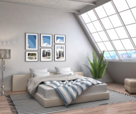 Bright loft bedroom bed Stock Photo