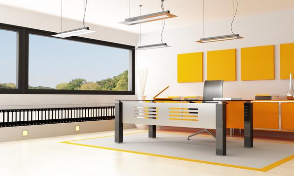 Bright modern office orange closet hd picture interiors for Oficina de orange