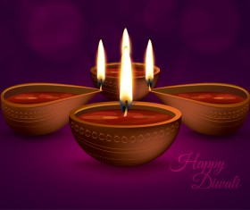 Burning diya with diwali holiday vector template 01