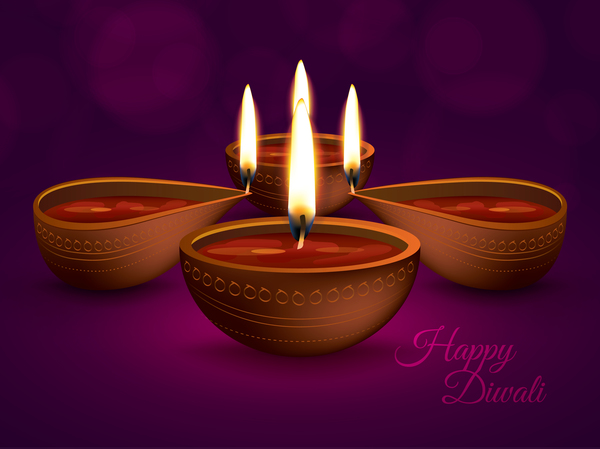 Burning diya with diwali holiday vector template 01