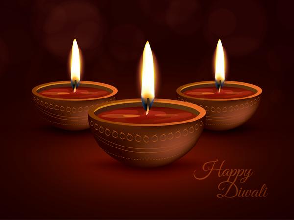 Burning diya with diwali holiday vector template 02