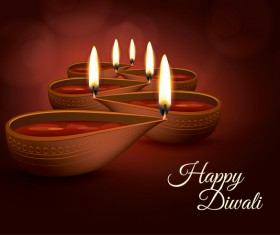 Burning diya with diwali holiday vector template 03
