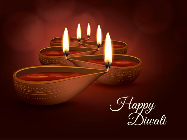 Burning diya with diwali holiday vector template 03