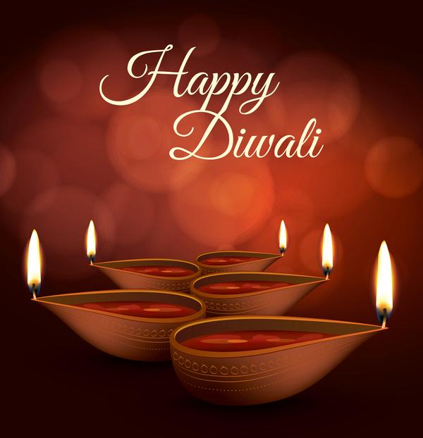 Burning diya with diwali holiday vector template 04