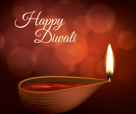 Burning diya with diwali holiday vector template 05