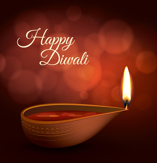 Burning diya with diwali holiday vector template 05