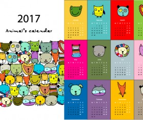 Calendar 2017 cartoon styles vector material 01