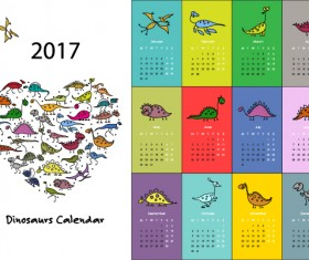 Calendar 2017 cartoon styles vector material 02