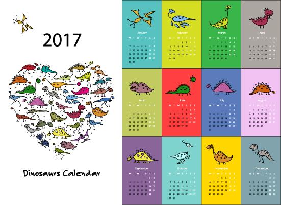 Calendar 2017 cartoon styles vector material 02