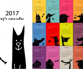 Calendar 2017 cartoon styles vector material 03