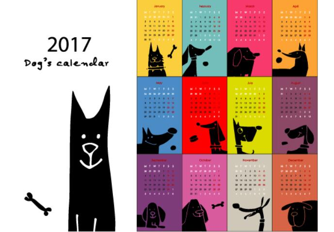 Calendar 2017 cartoon styles vector material 03