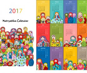 Calendar 2017 cartoon styles vector material 04