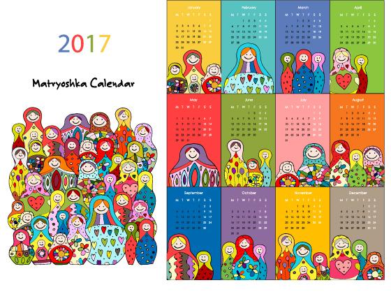Calendar 2017 cartoon styles vector material 04