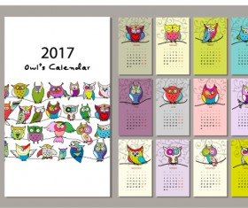 Calendar 2017 cartoon styles vector material 05