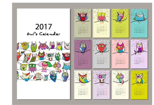Calendar 2017 cartoon styles vector material 05