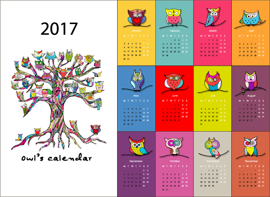 Calendar 2017 cartoon styles vector material 06