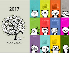 Calendar 2017 cartoon styles vector material 07