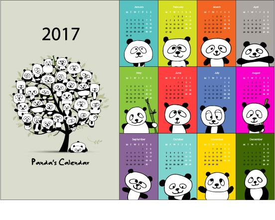 Calendar 2017 cartoon styles vector material 07