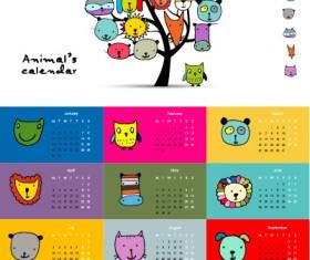Calendar 2017 cartoon styles vector material 08