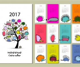 Calendar 2017 cartoon styles vector material 09
