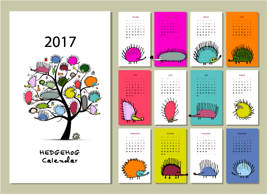 Calendar Design Cdr File Free Download : Calendar cartoon styles vector material