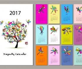 Calendar 2017 cartoon styles vector material 10