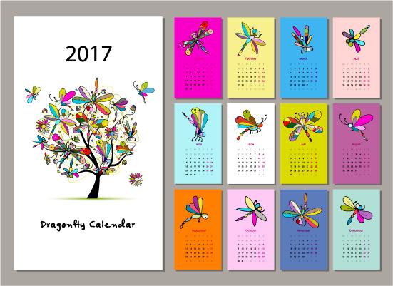 Calendar 2017 cartoon styles vector material 10