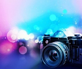 Camera with blurred background Stock Photo