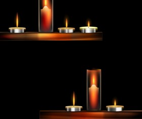 Candles and dark background vector material 02