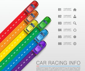 Car racing infographic vector set 02