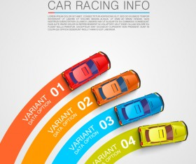 Car racing infographic vector set 04