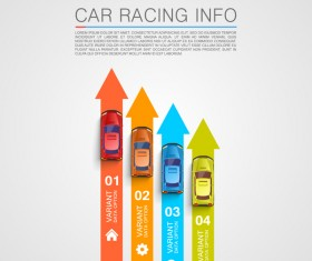 Car racing infographic vector set 07