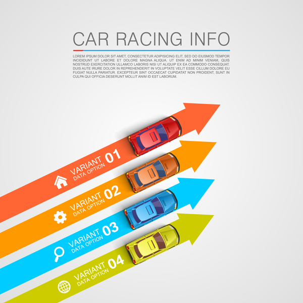 Car racing infographic vector set 08