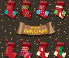 Cartoon christmas socks with retro xmas banner vector 01