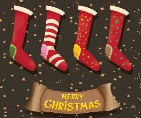 Cartoon christmas socks with retro xmas banner vector 03
