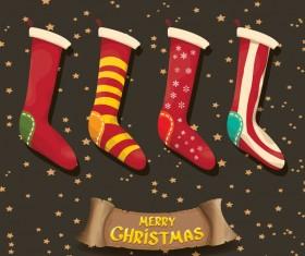 Cartoon christmas socks with retro xmas banner vector 04