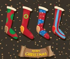 Cartoon christmas socks with retro xmas banner vector 06